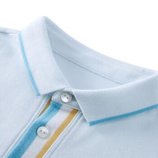 PurCotton 全棉时代 2000237501 男童针织彩色门襟短袖POLO衫 120/56(建议6-7岁) 晴空蓝