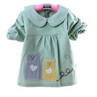 喜亲宝(K.S.babe)婴儿罩衣防水款 宝宝反穿衣婴幼儿围兜防溅衣 儿童画画衣罩衣 伙伴猫L码绿色