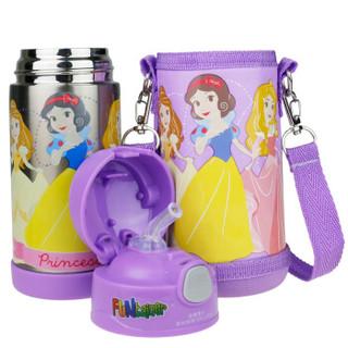 迪士尼婴儿童水杯 宝宝保温杯提手便携吸管杯保温壶(含杯套)350ML 公主
