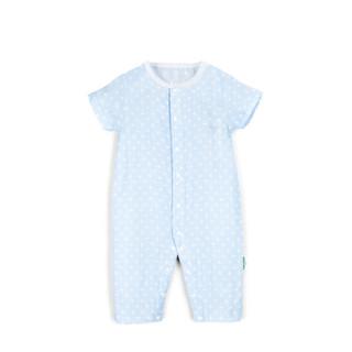 PurCotton 全棉时代 800-007532 婴幼儿纱布短袖连体服 66/44(建议3-6个月) 蓝底桃心