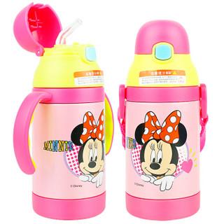 迪士尼儿童水杯 宝宝吸管杯 婴儿保温学饮杯背带保温壶喝水训练杯子(两用)300ML 米妮