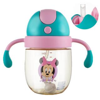 迪士尼(Disney)宝宝学饮杯吸管杯 儿童水杯子防漏带手柄PPSU水壶 310ml莹粉米妮