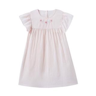 PurCotton 全棉时代 2000212201 女童梭织短袖连衣裙 110/56(建议4-5岁) 山茱萸粉