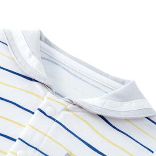 PurCotton 全棉时代 2000253201 婴儿衣服婴儿针织海军领短袖连体衣+帽子 66/44(建议3-6个月) 灰色波浪