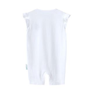 PurCotton 全棉时代 2000208901 婴儿针织短袖连体衣 66/44(建议3-6个月) 白色