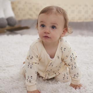 雅氏(Yeah's)婴儿针织长袖连体衣新生儿连体衣宝宝爬服全棉2件装80码适合9-12个月