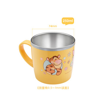 迪士尼(Disney)维尼宝宝水杯学饮杯 儿童不锈钢水杯早餐杯小孩牛奶杯子 单手柄带盖 250ml 韩国进口
