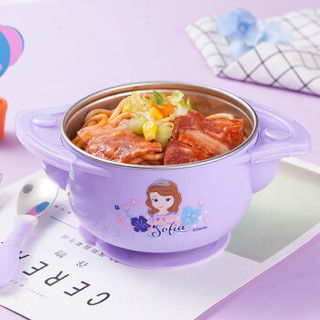 迪士尼(Disney)儿童餐具保温碗 宝宝316不锈钢餐具套装婴儿辅食碗吸盘碗叉勺子5件套紫色苏菲亚