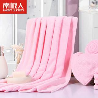 南极人(Nanjiren) 婴儿浴巾柔软新生儿童宝宝浴巾洗澡空调盖毯 蜜桃粉 150*75cm