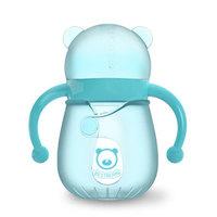 贝适邦  奶瓶婴儿玻璃奶瓶吸管奶瓶 仿真奶嘴宽口径奶瓶 薄荷蓝150ML