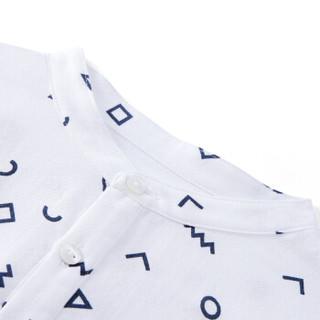PurCotton 全棉时代 2000213302 男童纱布短袖套头衬衫 110/56(建议4-5岁) 白底几何