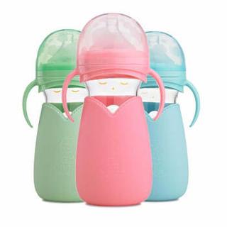 小不点(DOT)轻松吸 萌娃宽口感温玻璃奶瓶260ml粉色
