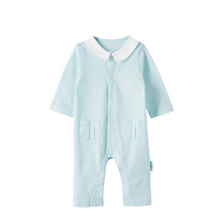 PurCotton 全棉时代 2000199701 婴儿针织提花长袖带领连体衣 66/44(建议3-6个月) 浅蓝