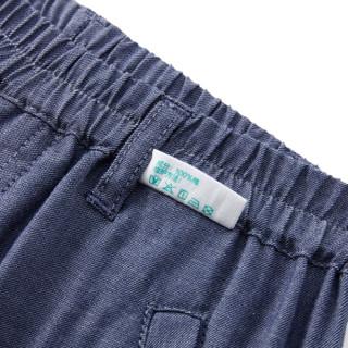 PurCotton 全棉时代 2000230601 男童牛津纺拼边短裤 130/56(建议8-9岁) 深蓝牛津纺