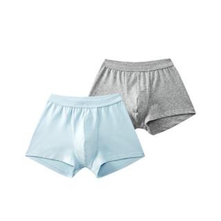 全棉时代 少男针织平角裤 140/70 浅花灰+浅天蓝 2件装