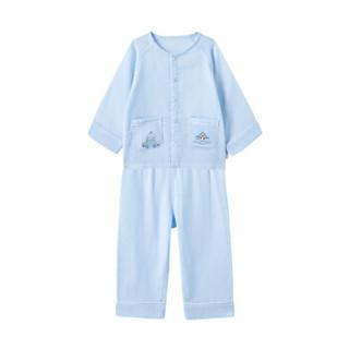 PurCotton 全棉时代 2000228901 幼儿男款高支纱纱布前开长袖套装 100/52(建议3-4岁) 宝贝蓝