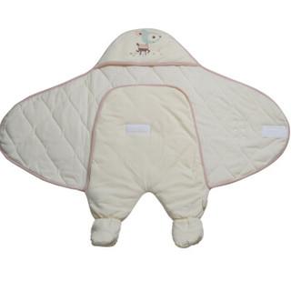 雅氏(Yeah's)婴儿抱被新生儿针织夹棉连腿抱被82x42cm春秋冬季3-12个月粉红色