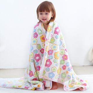 象宝宝(elepbaby)婴儿毛毯 法兰绒提花盖毯 儿童毯子 新生儿宝宝安抚毯100*130cm(七彩花朵)