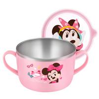 迪士尼米妮儿童不锈钢碗 婴儿碗 儿童餐具宝宝饭碗汤碗沙拉碗辅食碗 双手柄面碗 650ml 韩国进口 *2件