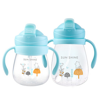 小白熊(Snow Bear)宝宝PP吸管水杯 儿童学饮杯 婴儿防漏喝水杯 带手柄 蓝色 300ML 09751
