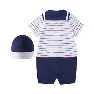 PurCotton 全棉时代 2000253202 婴儿针织海军领短袖连体衣+帽子 73/48(建议6-12个月) 红色波浪