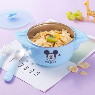 迪士尼(Disney)儿童餐具辅食碗 宝宝餐具套装婴儿注水保温吸盘碗勺叉子 三件套米奇