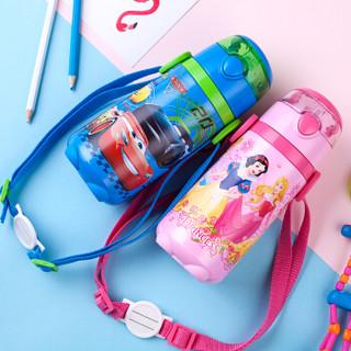 迪士尼(Disney)宝宝吸管杯 儿童保温杯 婴儿水杯带背带水壶 WD77蓝色汽车440ml