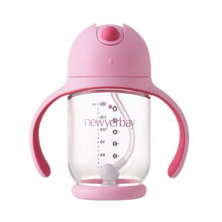 纽因贝 婴儿学饮杯 带手柄重力球防漏宝宝吸管杯 儿童水杯(粉色款)180ml