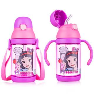 迪士尼(Disney)宝宝学饮杯吸管杯 儿童水杯子防漏背带手柄两用水壶 350ml紫色公主