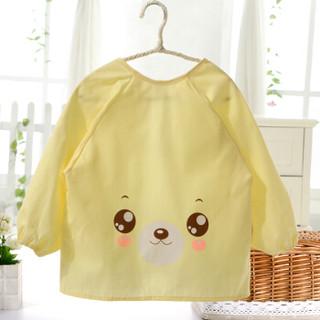 喜亲宝 婴儿罩衣 宝宝吃饭罩衣儿童防水画画反穿衣 全棉罩衣用品(适合身高70-85厘米2条装粉色+黄色)春款