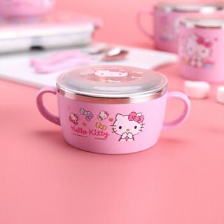 乐扣乐扣(LOCK&LOCK)韩国进口HELLO KITTY蝴蝶结带盖不锈钢双柄碗 辅食碗儿童餐具饭碗LKT425