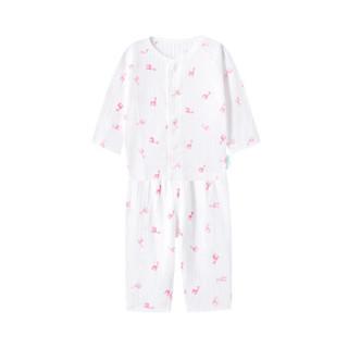 PurCotton 全棉时代 婴儿针织罗纹长袖套装 (长颈鹿剪影、73/48、1套装)
