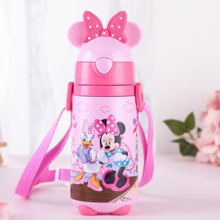 迪士尼(Disney)宝宝吸管杯 儿童保温杯不锈钢婴儿水杯子带背带户外水壶粉色米妮440ml