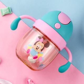 迪士尼(Disney)宝宝学饮杯吸管杯 儿童水杯子防漏带手柄PPSU水壶 260ml莹粉米妮