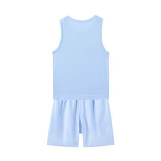 PurCotton 全棉时代 2000218801 幼儿男款网眼提花背心套装 80/48(建议12-18个月) 宝贝蓝