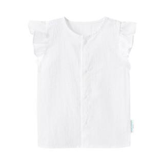 PurCotton 全棉时代 幼儿女款剪花短袖衬衫 (白色、女、80/48、1条装)