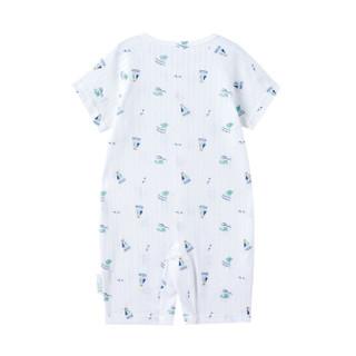 PurCotton 全棉时代 2000264502 婴儿针织抽针罗纹短袖连体衣 59/44(建议0-3个月) 海豚浪花