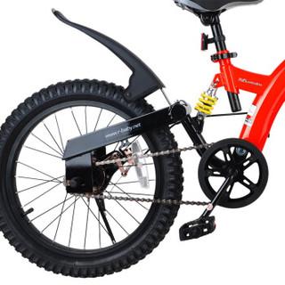 优贝(RoyalBaby)儿童自行车 单车男女小孩童车 避震型宝宝脚踏车山地车3岁-9岁 小飞熊18寸 红色