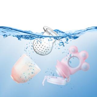 纽因贝 婴儿牙胶 磨牙咬咬乐 水果食咬袋粉色款(3个咬袋)奶嘴链(粉色)套装