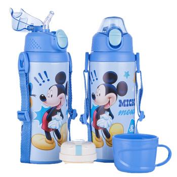 迪士尼(Disney)宝宝吸管杯 儿童保温杯 婴儿水杯 不锈钢保温水壶 HM08一杯双盖蓝色米奇500ml