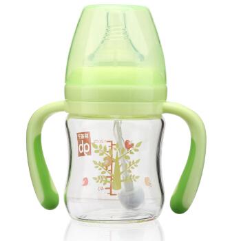 gb好孩子 婴儿玻璃奶瓶 新生婴幼儿 宝宝  宽口径 母乳质感 L号 自控流量奶嘴 带手柄吸管 120ml 绿色小树