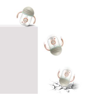 babycare学饮杯 儿童水杯防摔防撞重力球吸嘴杯宝宝吸管杯 暮色紫360ml-2718