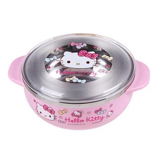 乐扣乐扣(LOCK&LOCK)韩国进口HELLO KITTY蝴蝶结带盖不锈钢双耳小碗 辅食碗儿童餐具饭碗LKT423
