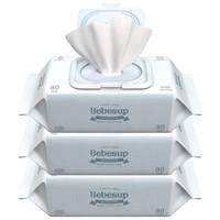 宝必舒(Bebesup)婴儿湿纸巾 新生儿宝宝手口柔湿巾 sensitive敏感肌系列带盖80片*3包 韩国进口