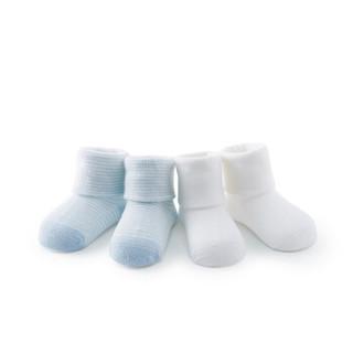PurCotton 全棉时代 婴儿翻边袜 (天蓝条+白、7.5cm 建议0-3个月)