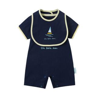 PurCotton 全棉时代 2000206501 婴儿针织短袖连体衣+口水兜 59/44(建议0-3个月) 藏青
