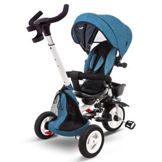 童车手推车 Babyjoey 英国儿童三轮脚踏车折叠宝宝1-3-5岁手推车自行车 骑士 荣誉蓝