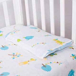 喜亲宝 4层纱布婴儿床单 枕套床单二合一防脱落设计 幼儿园儿童床婴儿床新生儿全棉床单138*78厘米蓝色