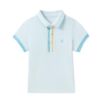 PurCotton 全棉时代 幼儿男款彩色门襟短袖POLO衫 (晴空蓝、男、100/52、1件装)