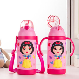 迪士尼(Disney)宝宝吸管杯学饮杯 儿童保温杯 婴儿水杯带手柄背带水壶 HC83粉色公主